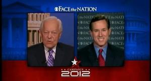Rick Santorum talking to Bob Schieffer on Face the Nation