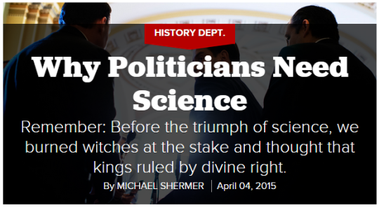 Politico's header for their article on the importance of science, with a photo courtesy of the AP.